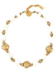Yves Saint Laurent Vintage Faux Pearl Chain Necklace Metallic
