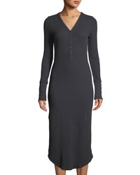 Three Dots Thermal Knit V Neck Henley Midi Dress Gray
