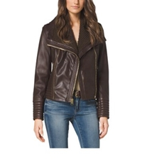 Michael Kors Asymmetric Zip Leather Jacket Brown