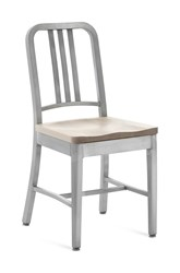 Emeco Navy Chair With Natural Wood Seat Gray