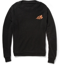 The Elder Statesman Flower Intarsia Cashmere Sweater Black