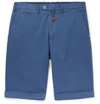 Isaia Slim Fit Cotton Blend Twill Bermuda Shorts Blue