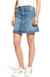 Mother Women's Miranda The Snap Down Flare Denim Miniskirt