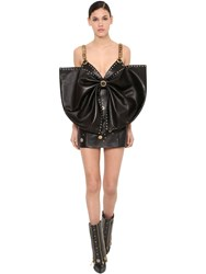 Fausto Puglisi Detachable Bow Leather Mini Dress Black