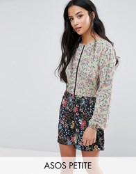 Asos Petite Pretty Floral Mix And Match Playsuit Multi