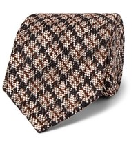 Rubinacci Puppytooth Cotton And Silk Blend Jacquard Tie Beige