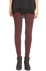 Junior Women's Bp. Melange Stretch Cotton Leggings Burgundy Stem