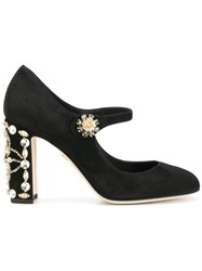 Dolce And Gabbana Vally Embellished Pumps Leather Suede Black