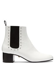 Alexachung Stud Embellished Patent Leather Chelsea Boots White
