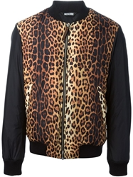 Moschino Leopard Front Bomber Jacket Black