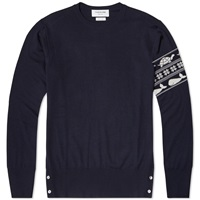 Thom Browne Fair Isle Arm Stripe Merino Crew Knit Navy