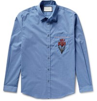 Gucci Slim Fit Embroidered Muslin Shirt Blue