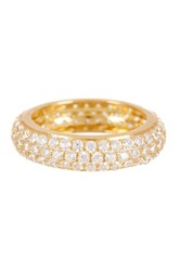 18K Yellow Gold Plated Sterling Silver Pave Cz Eternity Band Ring No Color
