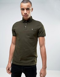 Ted Baker Polo With Textured Collar Khaki Green