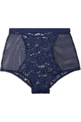Else Petunia Stretch Mesh And Corded Lace Briefs Midnight Blue