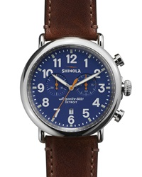 47Mm Runwell Chronograph Men's Watch Blue Cognac Shinola