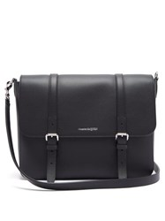 Alexander Mcqueen Buckled Grained Leather Messenger Bag Black