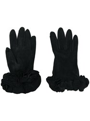 Giorgio Armani Vintage Ruffled Gloves Black