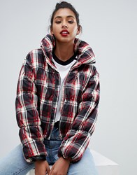 Prettylittlething Statement Collar Padded Check Coat In Multi