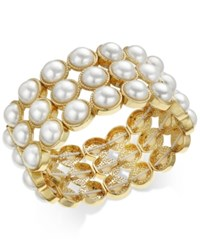 Charter Club Gold Tone Imitation Pearl Stretch Bracelet Only At Macy's