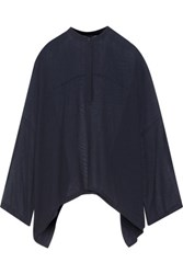 Helmut Lang Oversized Draped Wool And Silk Blend Gauze Blouse Midnight Blue