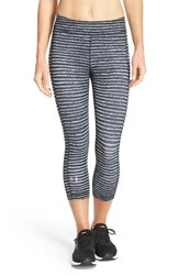 Women's Under Armour Heatgear Print Capris Black White Dot Stripes