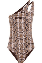Melissa Odabash Jamaica One Shoulder Snake Print Swimsuit Brown