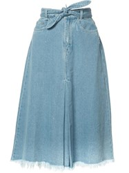 Zimmermann Drawstring Denim Skirt Blue