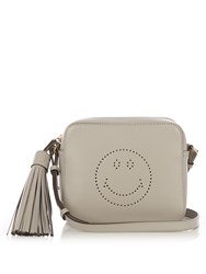Anya Hindmarch Smiley Leather Cross Body Bag Grey