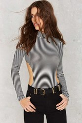 Nasty Gal Back Is The New Black Striped Bodysuit