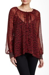 Jessica Simpson Printed Embellished Cuff Tunic Red