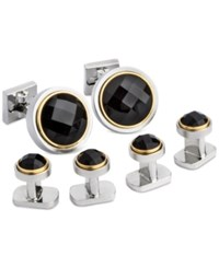 Ike Behar Men's Onyx Cuff Links And Studs Set Black
