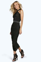 Boohoo Ruched Cross Back Midi Dress Black