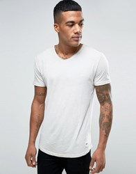 Solid V Neck T Shirt In Wash With Raw Edges 4027 Beige