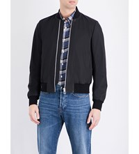 Paul Smith Ps By Matte Leather Bomber Jacket Black