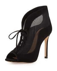 Schutz Suzette Peep Toe Lace Up Suede Bootie Black