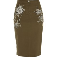 River Island Womens Khaki Green Embroidered Pencil Skirt