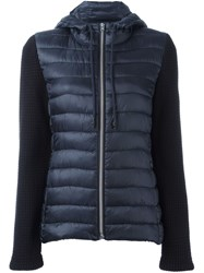 Closed Knitted Sleeve Puffer Jacket Blue