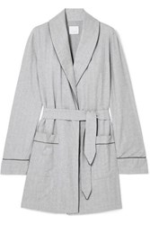 Three J Nyc Belted Cotton Flannel Robe Gray