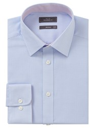 John Lewis Non Iron Puppytooth Tailored Fit Shirt Sky