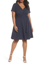Dorothy Perkins Plus Size Spot Fit And Flare Wrap Dress Navy