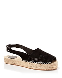 French Connection Open Toe Slingback Perforated Espadrille Flats Lucya Black