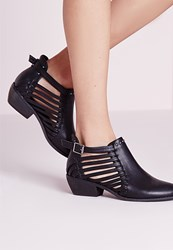 Missguided Strappy Cut Out Ankle Boot Black Black