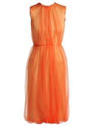 Prada Jersey And Tulle Sleeveless Dress Orange Multi