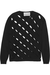 Victor Glemaud Cutout Cotton And Cashmere Blend Sweater Black