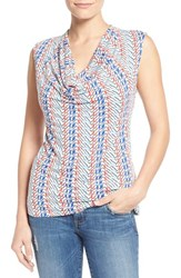 Women's Halogen Cowl Neck Sleeveless Top Ivory Red Print