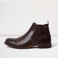 River Island Mens Chocolate Brown Leather Chelsea Boots