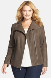 Tahari 'Angelina' Zip Collar Leather Moto Jacket Plus Size Jungle