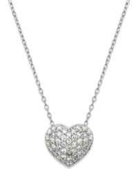Macy's Diamond 1 3 Ct. T.W. Pave Heart Pendant In 14K White Gold
