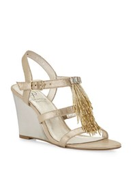 Adrianna Papell Adair Beaded Fringe Wedge Sandals Gold